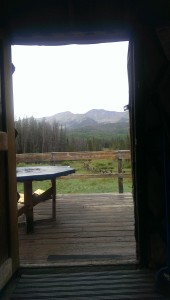 View out the front door.